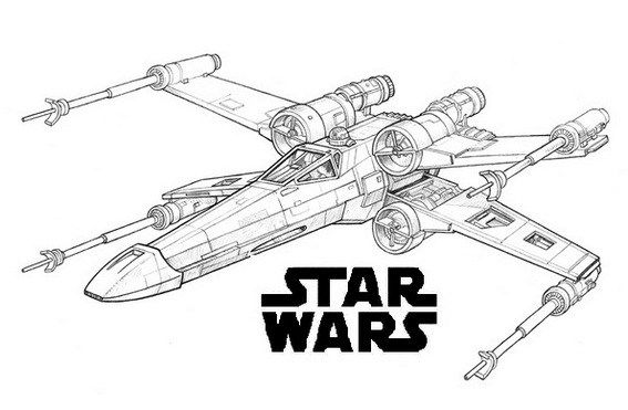 X Wing Fighter The Force Awakens Star Wars Coloring Page