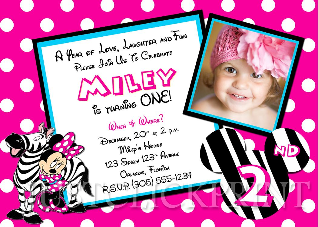 Cool Free Printable Minnie Mouse Birthday Party Invitations | Free ...