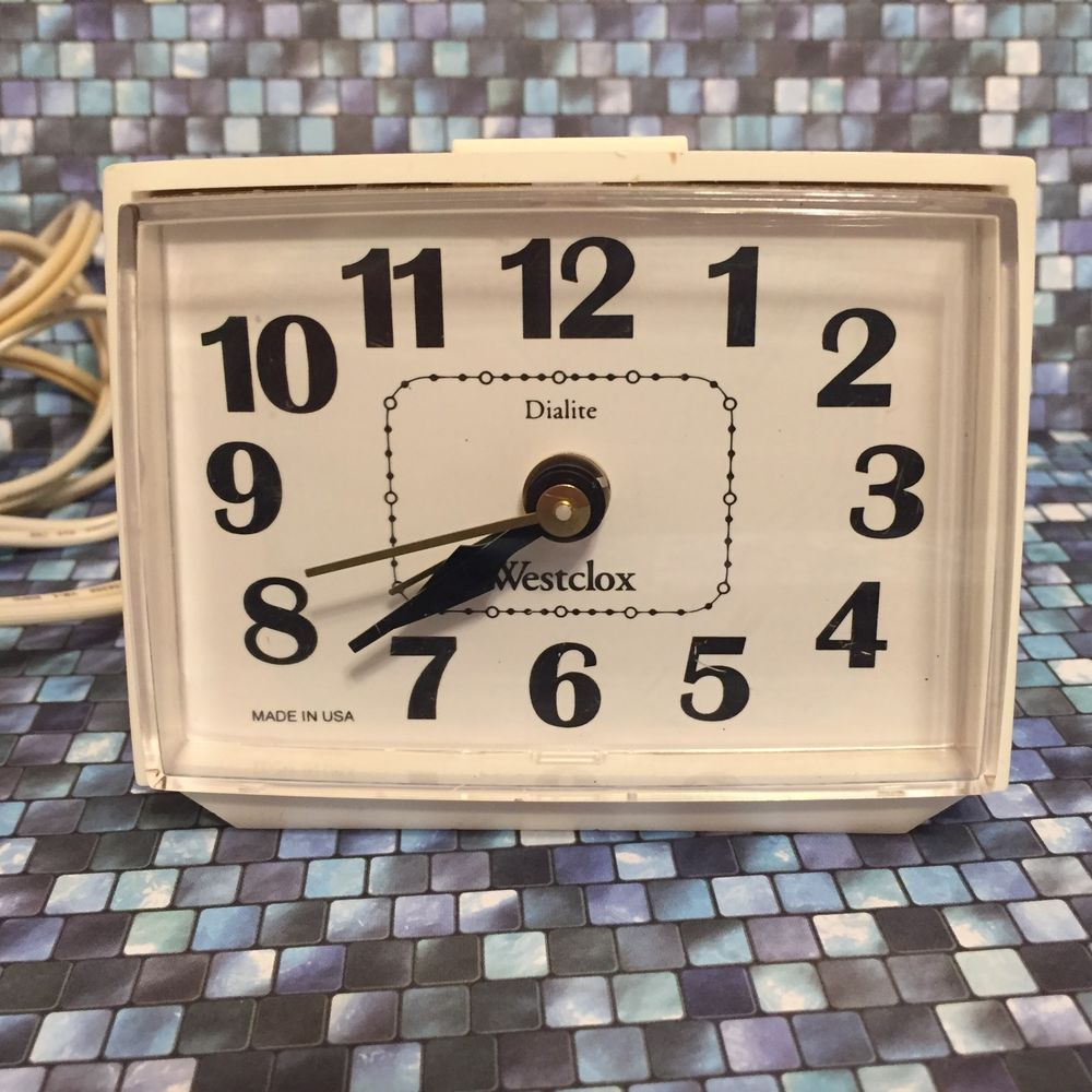 Vintage Westclox Dialite Electric Alarm Clock White Bedroom