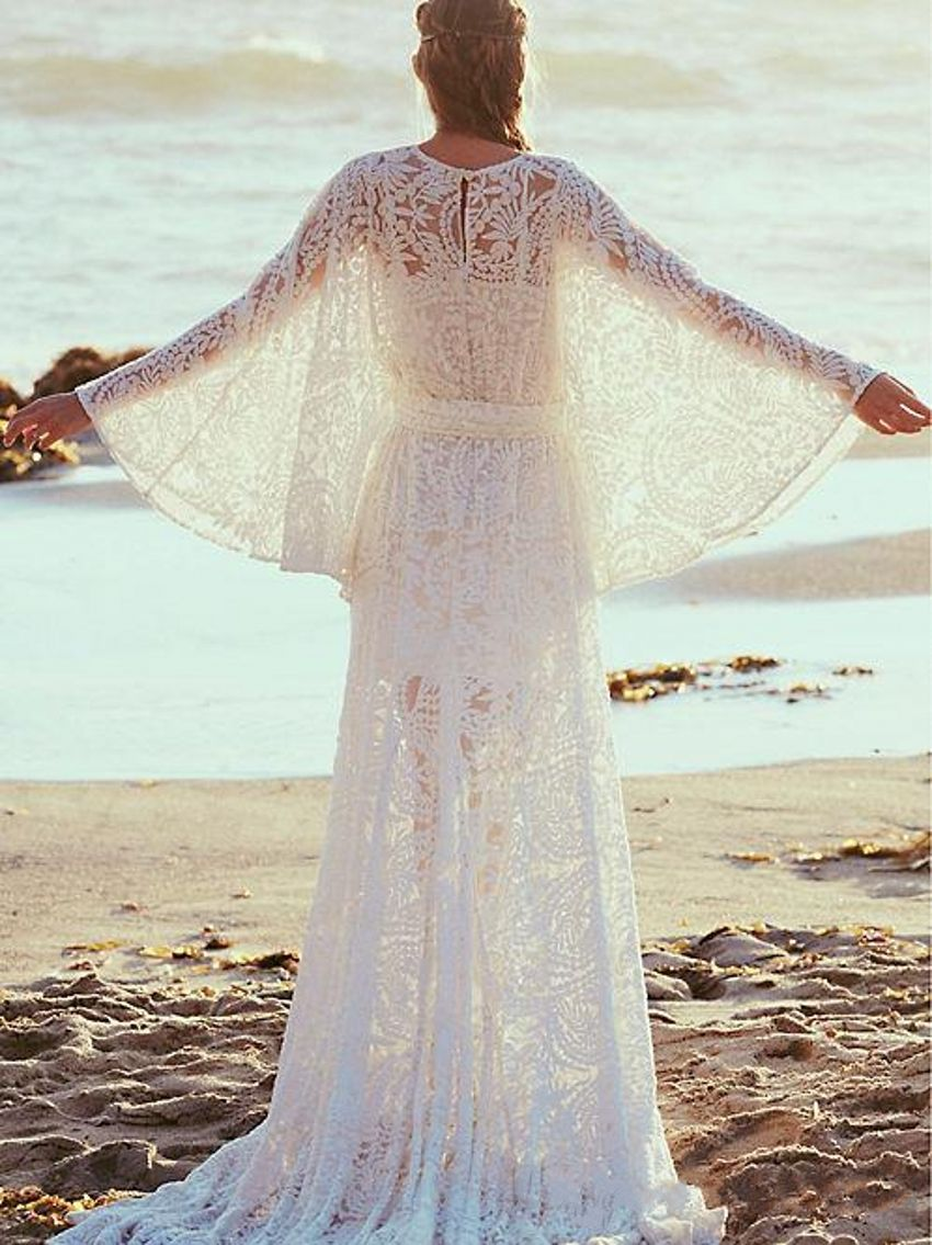 Lace beach plus size wedding dresses long sleeves boho vintage