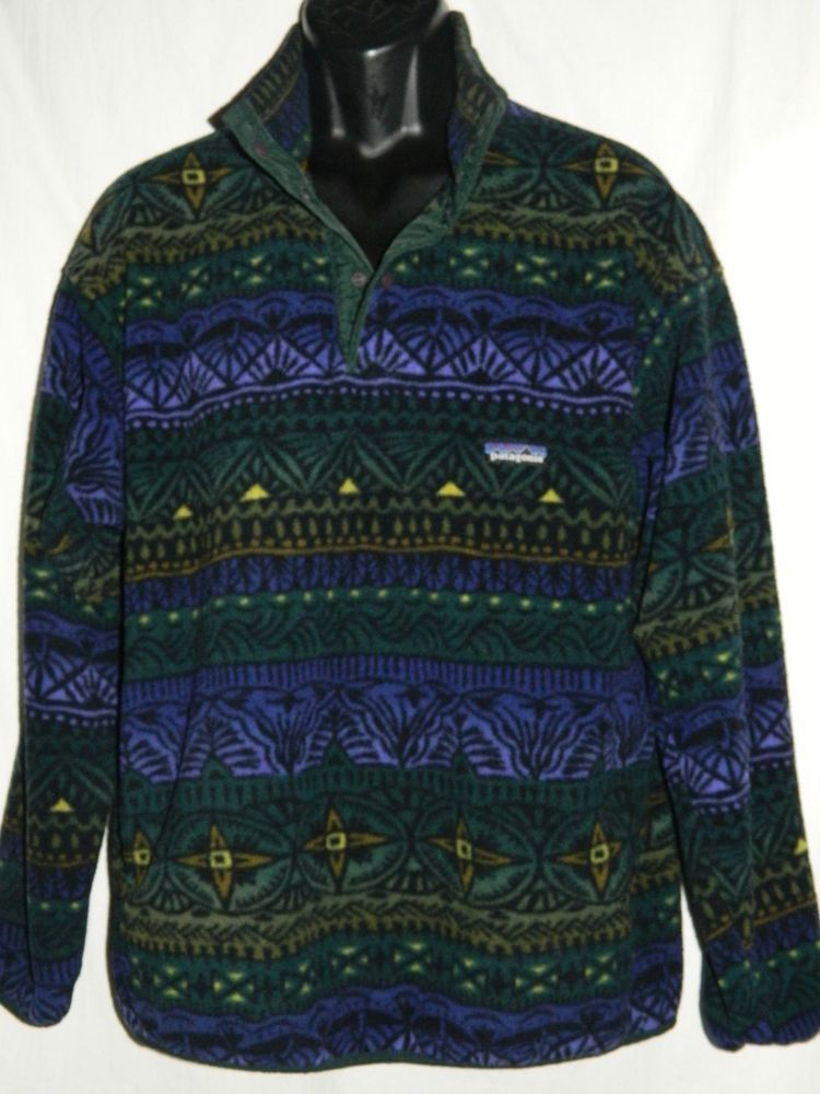 PATAGONIA ~ SYNCHILLA Vtg SNAP-T Pullover Fleece JACKET ~ Aztec ...