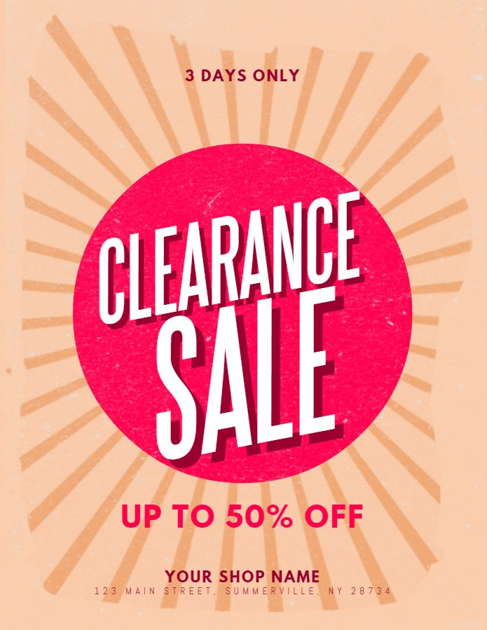 clearance sale retail offer flyer social media graphic