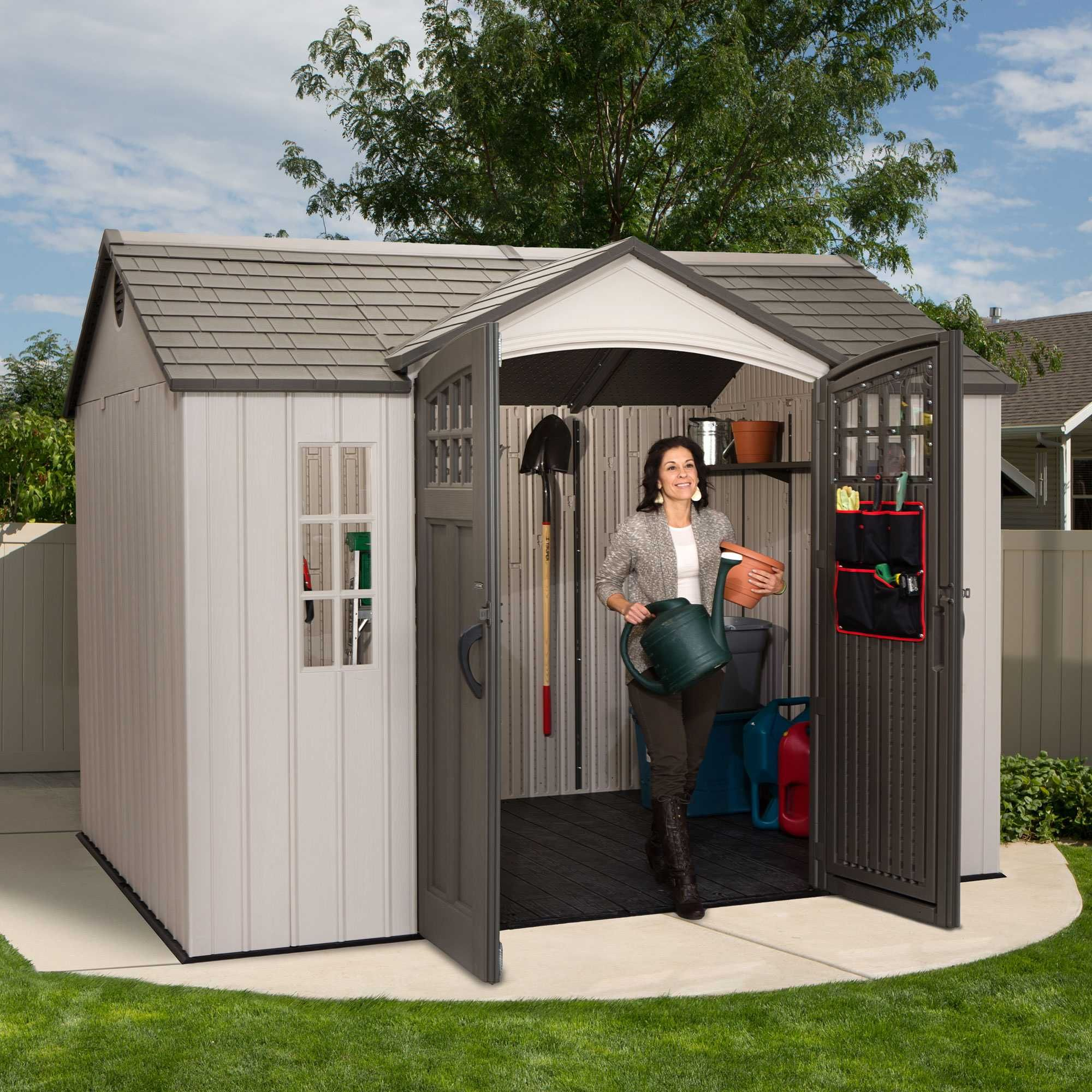 x 8 ft outdoor storage shed includes 2 shelves 1 skylight 2 vents 2 windows wall hooks and tool storage pouch