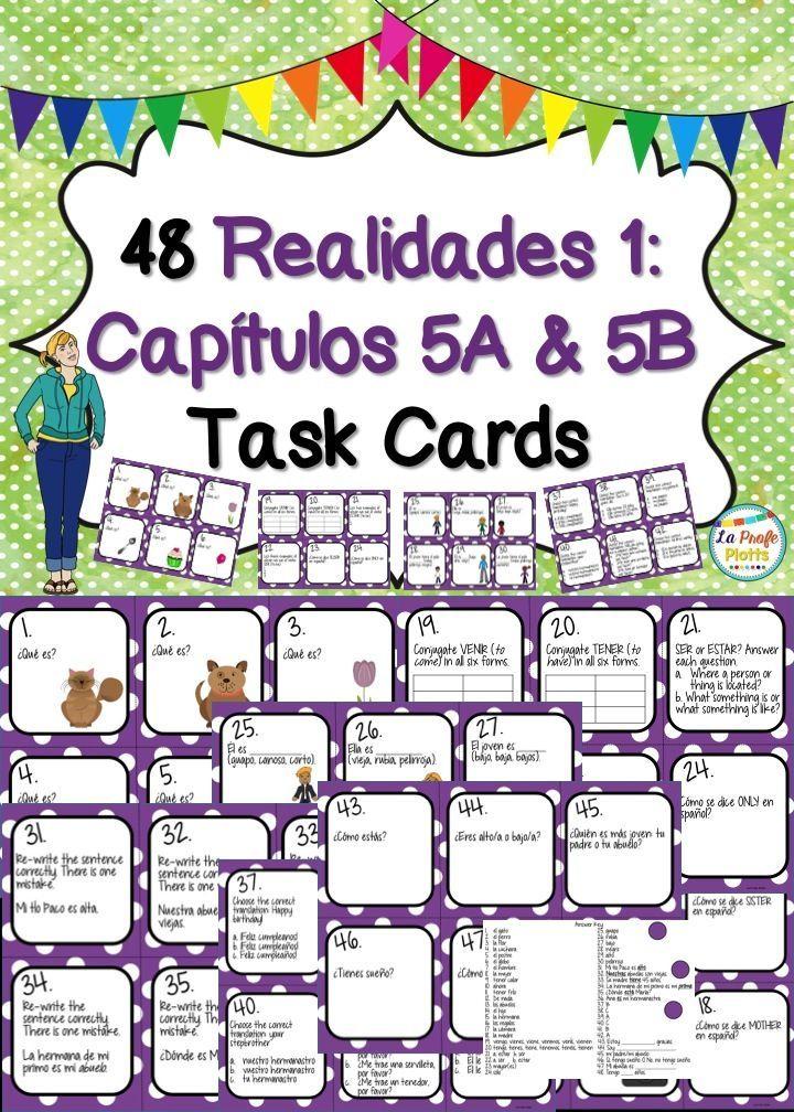 Printable Worksheets realidades 1 worksheets : Spanish Realidades 1: Capítulos 5A & 5B Task Cards | Textbook ...