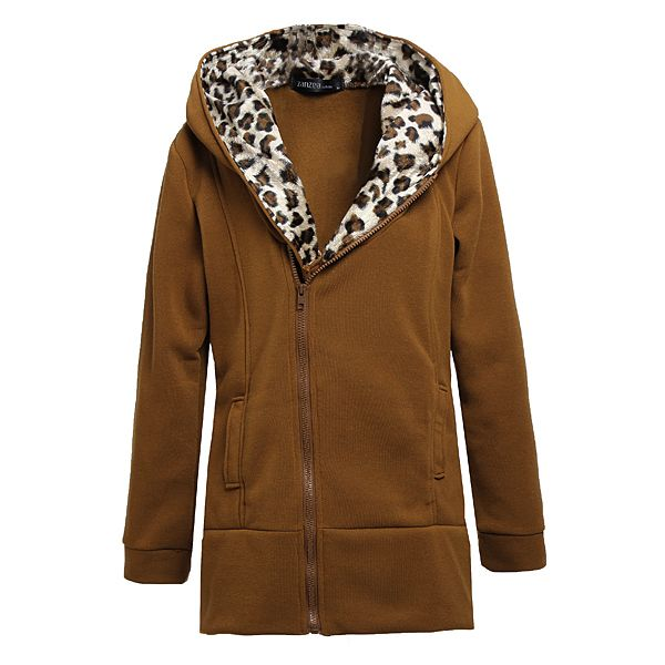 e8fd25026a3b M-4XL Leopard Hooded Zipper Coat   Woman's Apparel & Fashion ...
