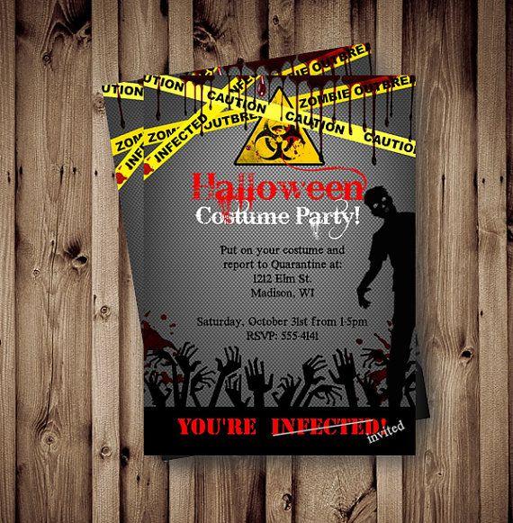 Halloween Invitation Zombie Costume Party Invite por PinkPopRoxx ...