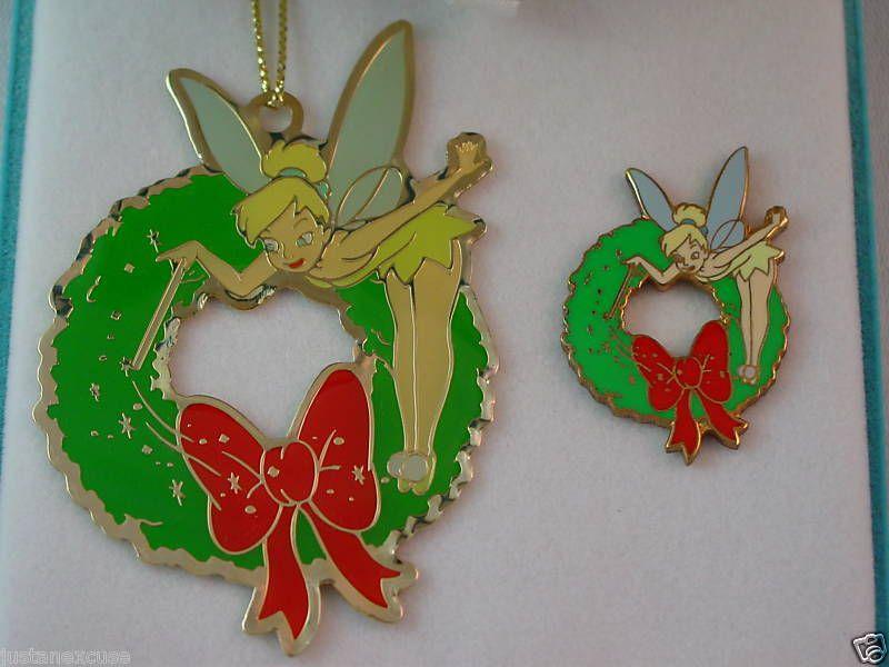 Tinker Bell Wreath Cloisonné Pin & Christmas Ornament Boxed Set Disney Catalog #DisneyCatalog #PinsButtons