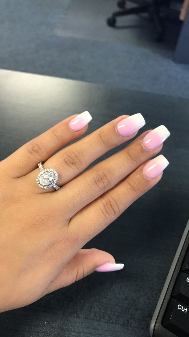 White And Pink Ombre Nails Coffin Shape Coffin Nails Longnails Pink Ombre Nails Halo Nails Ombre Nails