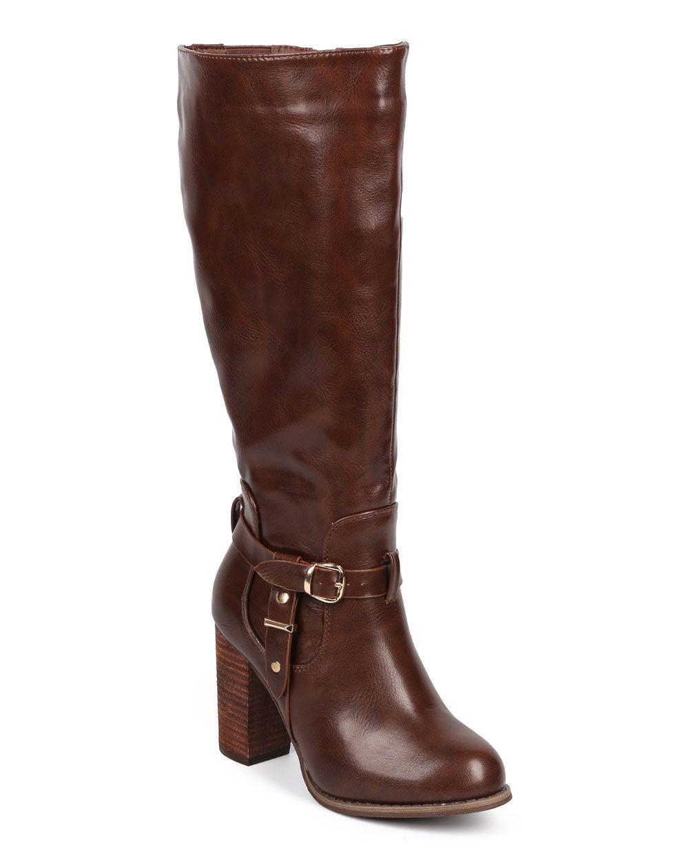98b2c5b1fb92 New-Women-DbDk-Greer-1-Knee-High-Leatherette-Belted-Chunky-Heel-Riding-Boot -Size