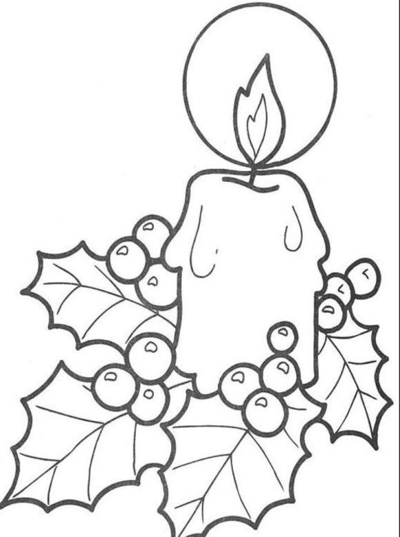 simple free coloring pages for christmas candle printable | Coloring ...