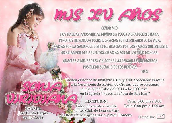 Oraciones Para Quinceanera Invitaciones Yahoo Image