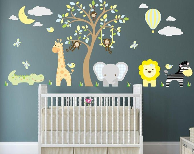 Jungle Animals Wall Stickers, Monkeys, Giraffe and Elephant around a white tree mural. Balloon and Moon. Teal, Yellow, Grey nursery Decals images