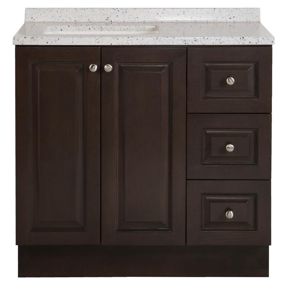 Glacier Bay Northwood 37 In W X 19 In D Bathroom Vanity In Dusk With Solid Surface Vanity Top In Silver Ash With White Sink Nw36p2 Dk The Home Depot In 2020