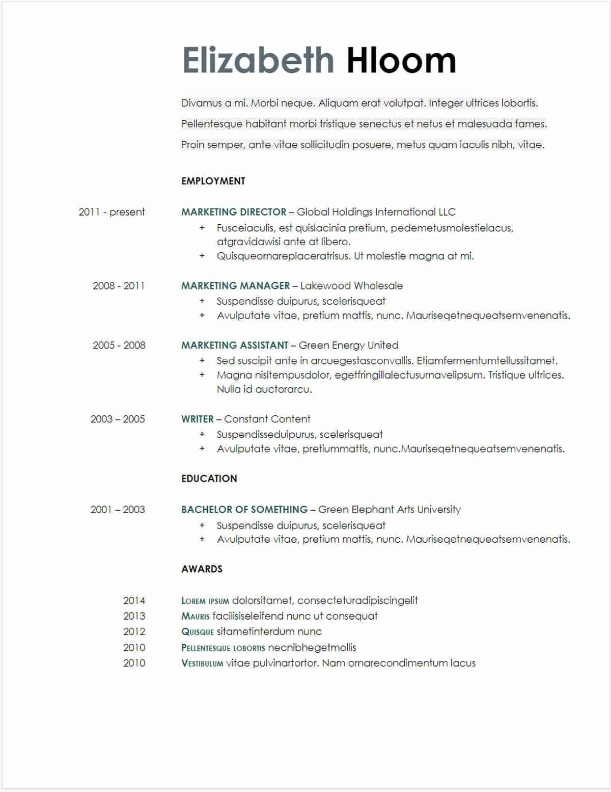 resume template education section in 2020 Downloadable