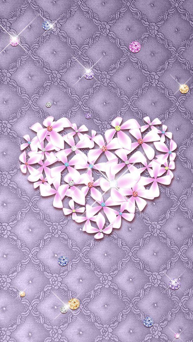 valentine's day wallpaper , lockscreen , heart , purple , flowers, Ideas