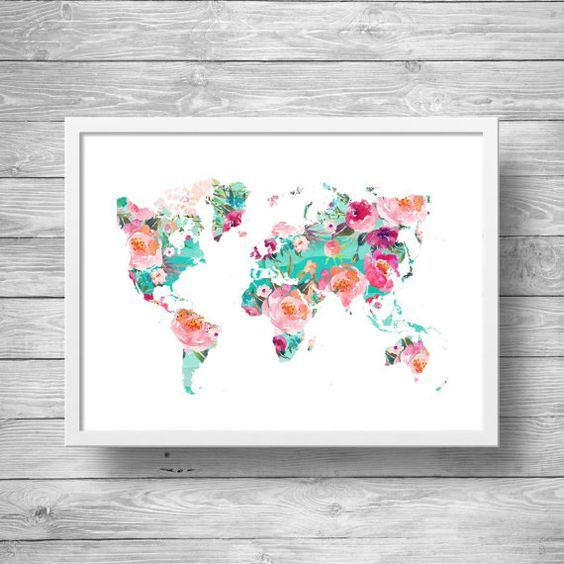 Carte Du Monde Art Imprimable Wanderlust Floral Watercolor World