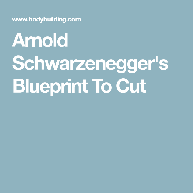 Arnold Schwarzeneggeru0027s Blueprint To Cut