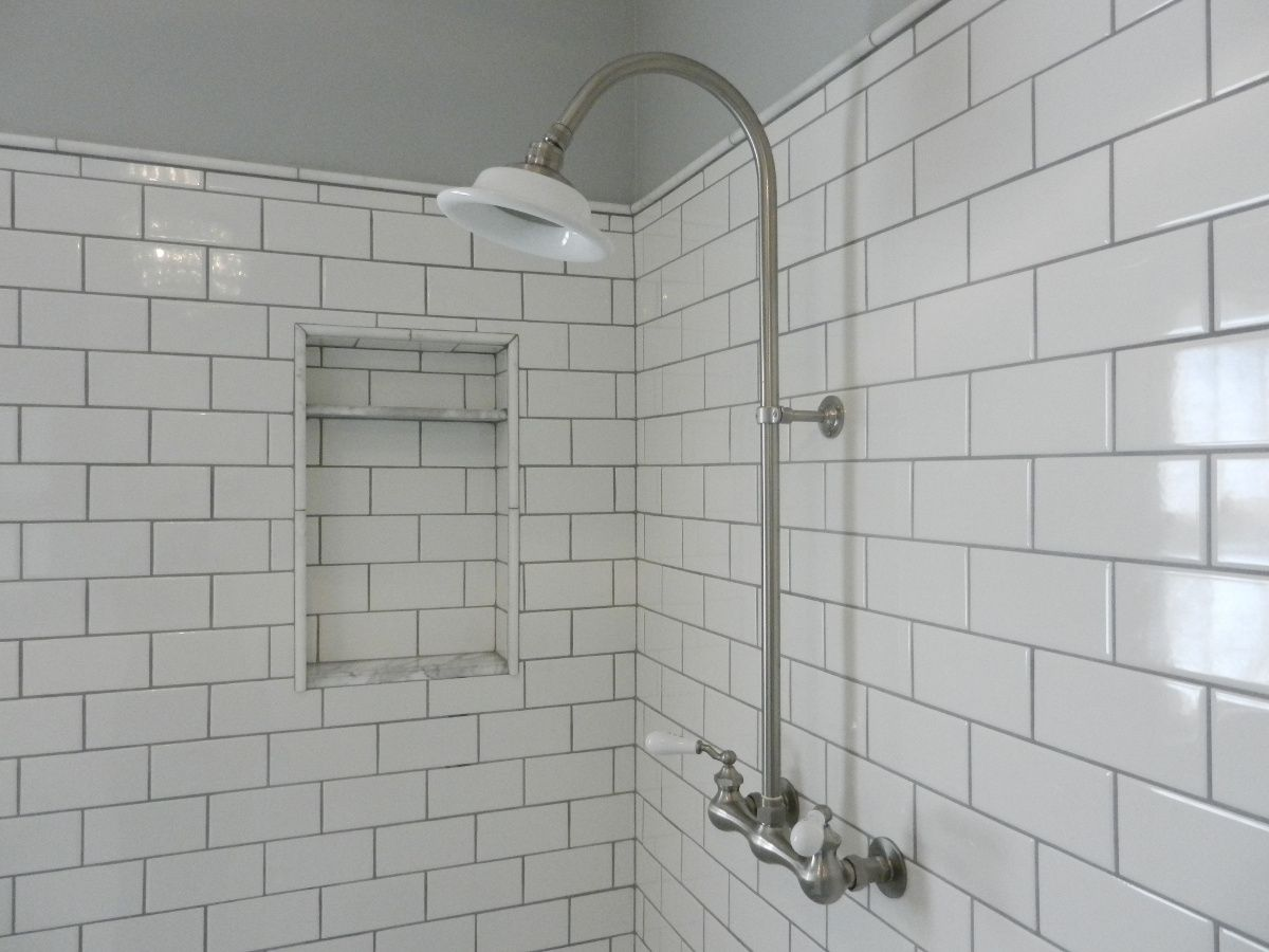 Wonderful White Subway Tile Shower With Exposed Shower Set In Master Bath Redo    Atticmag