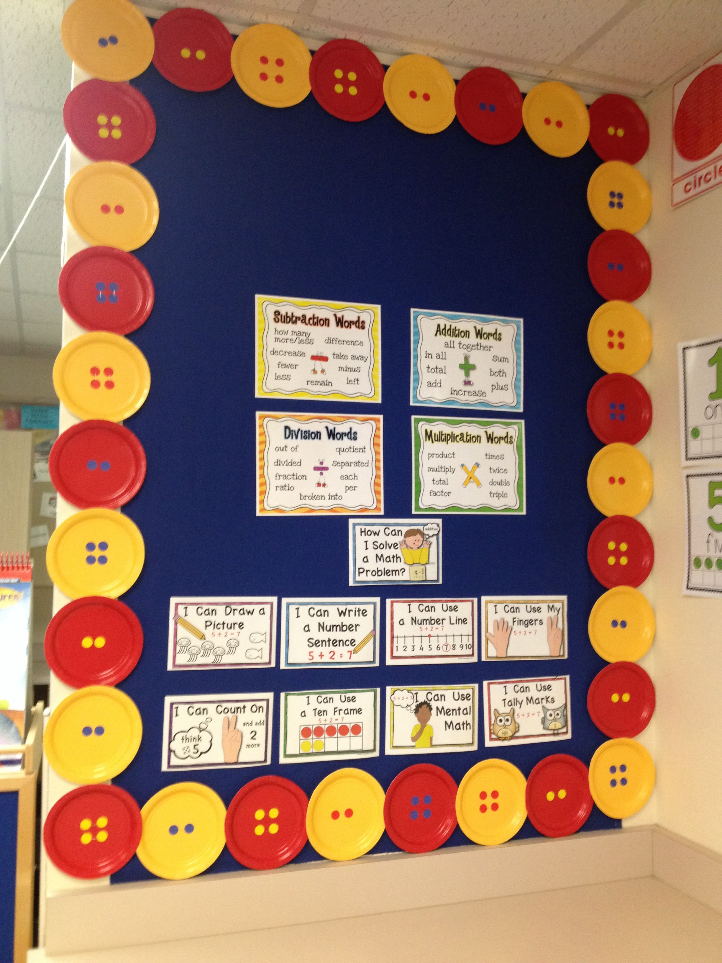 Math Pete the Cat Bulletin Board with Buttons made out of ...