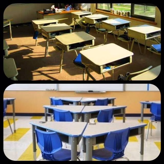 Old School Vs New School Let Proacademy Revamp Your Classroom This Year Not Only Do We Make Classrooms Loo Future School Classroom Furniture Chair Design