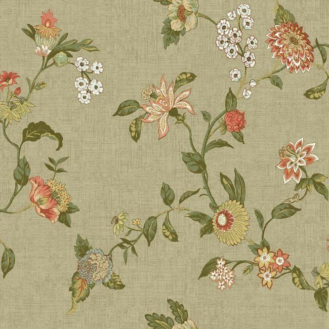 York Wallcoverings GC8703 Global Chic Graceful Garden Wallpaper