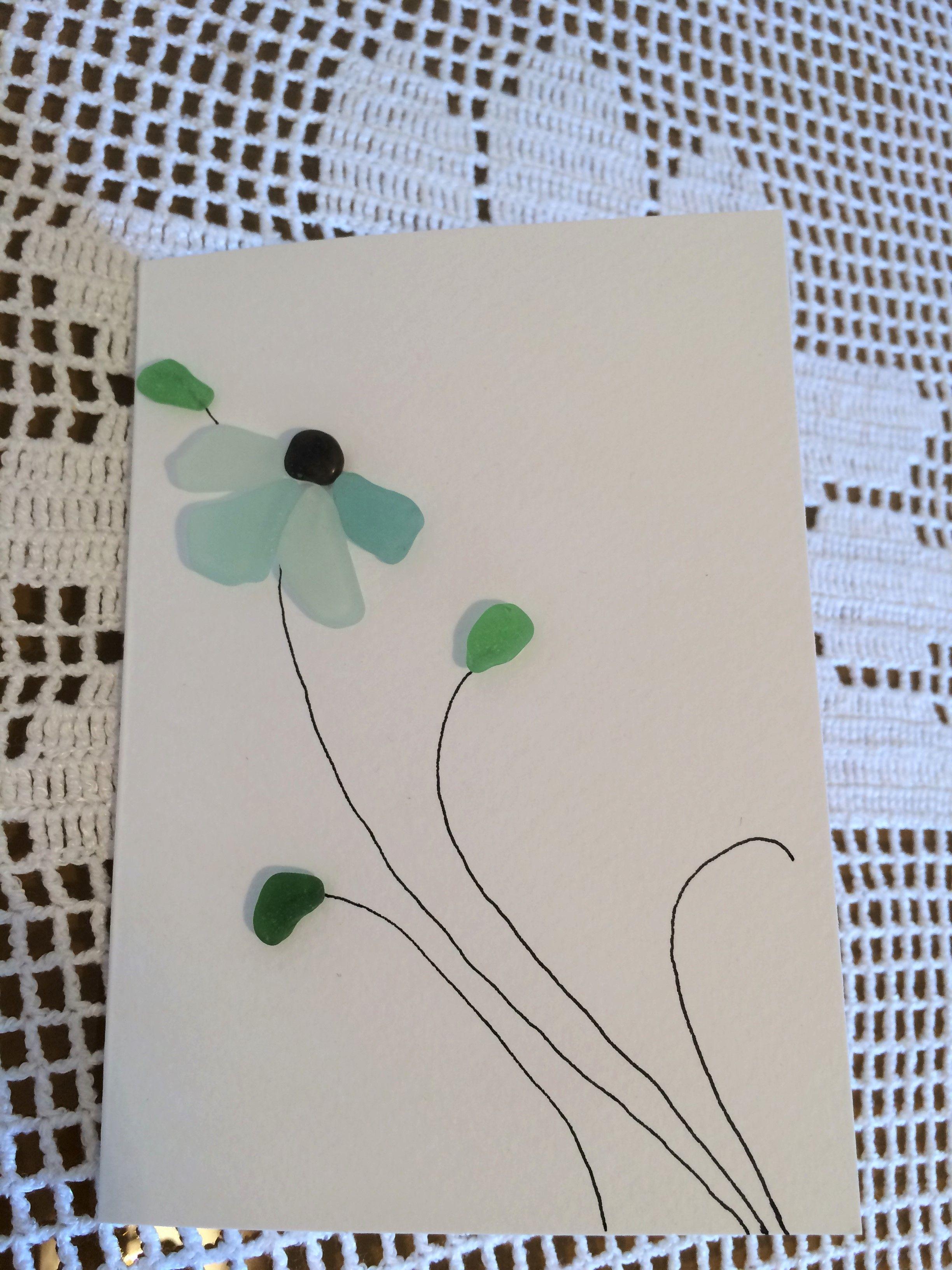 Pebble Art Sea Glass Art Handmade Birthdaycard