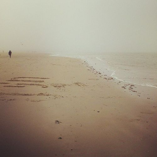 Renesse, Zeeland, The Netherlands, North Sea shore, misty autumn morning