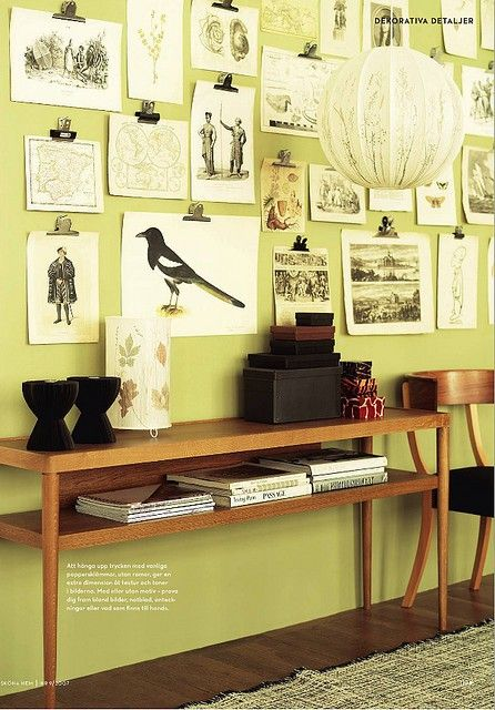 Great decorating idea: bulldog clips to hang a series of pictures ...
