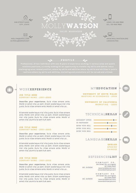 Resume Cv Design Cover Letter Template For Word By Oddbitsstudio