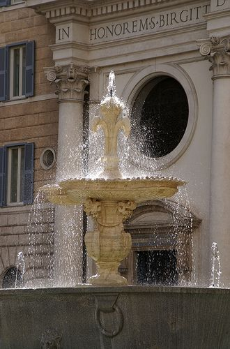 Fountain and St. Bridget Church, Piazza Farnese, Rome.