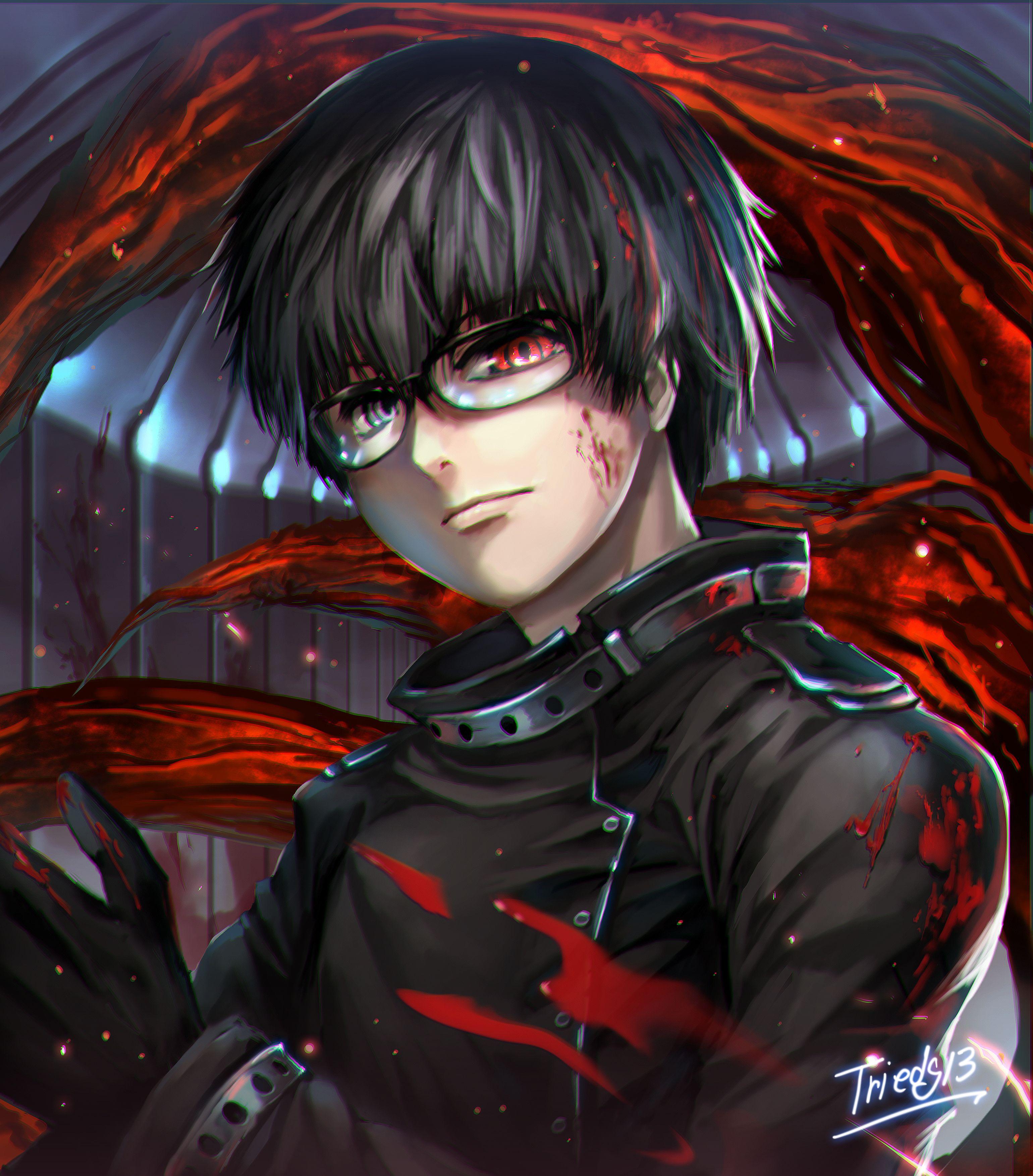 Anime heterochromia / odd eyes black red (Kaneki Ken Tokyo