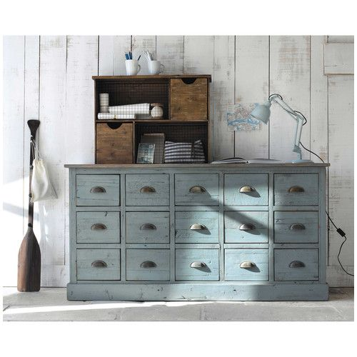 comptoir multi tiroirs meuble de m tier en bois recycl gris l 165 cm projets essayer. Black Bedroom Furniture Sets. Home Design Ideas