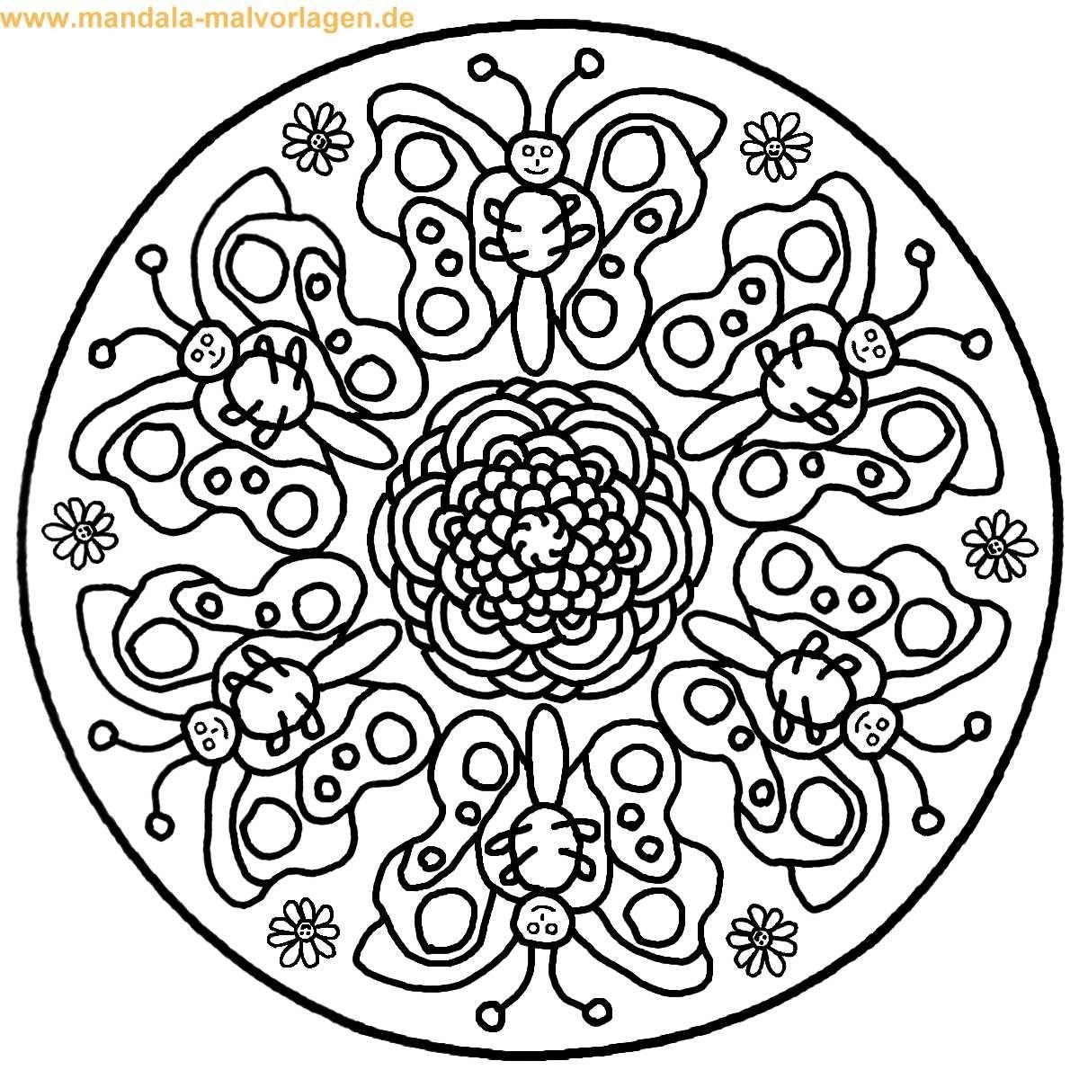 Ausmalbilder Mandala Schmetterling in 18  Mandala coloring