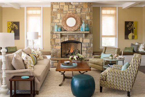 glamorous turquoise beige living room | Yellow Traditional Living Room Design | Mo n Greg | Beige ...