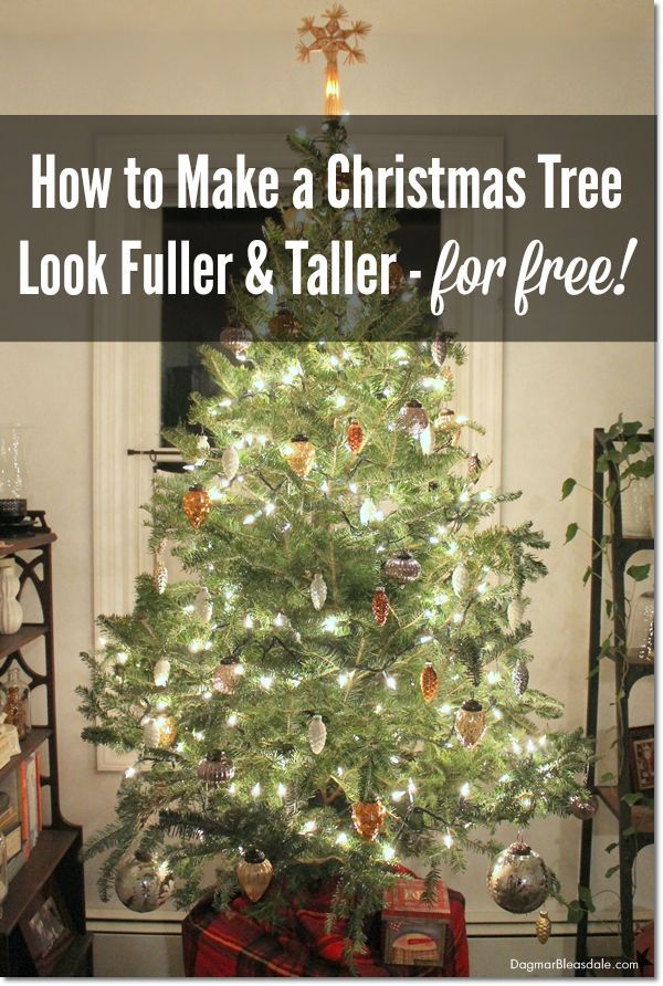 How to Make a Christmas Tree Look Fuller and Taller - on a Budget - how to decorate a small christmas tree