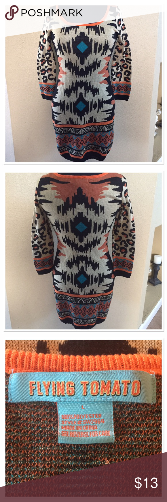 Flying Tomato tribal sweater dress Super cute ,  tribal print sweater dress .  Tan and orange color.  33.5 inches in length shoulder to bottom.  And bust measures 33 inches.  Gently used. Flying Tomato Dresses Mini