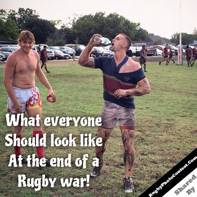 What Everyone Should Look Like After A Rugby War Rugby Memes Rugby Workout Springbok Rugby