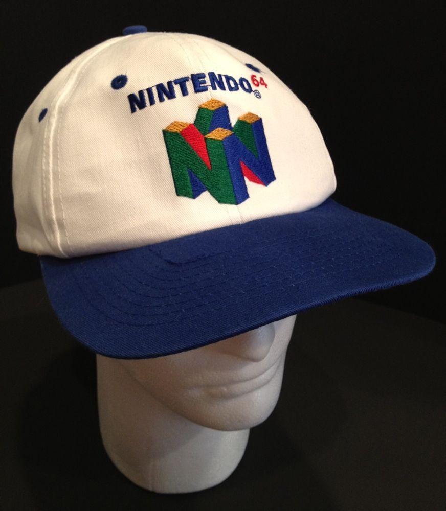 NINTENDO SUPER MARIO 64 N64 KELLOGG S PROMOTIONAL SNAPBACK HAT CAP WHITE  BLUE  SascoInc  BaseballCap 99202f4e126