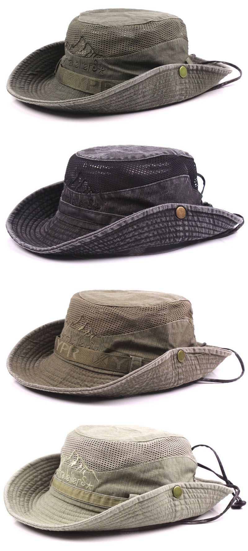 abf4b9244ea Mens Summer Cotton Embroidery Visor Bucket Hats Fisherman Hat Outdoor  Climbing Mesh Sunshade Cap