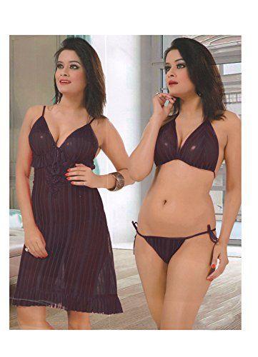 1204185172 Sexy Lingerie · Knitwear · Indiatrendzs Women s Nighty Violet Babydoll Night  Wear 3P... http   www