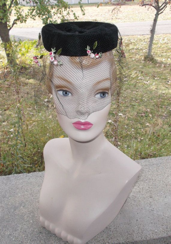 1960s Vintage Open Crown Black Velvet Pillbox Hat with Embroidered Rose Veil