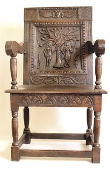 Wainscot Chair With A Wonderful Back Panel Showing Adam