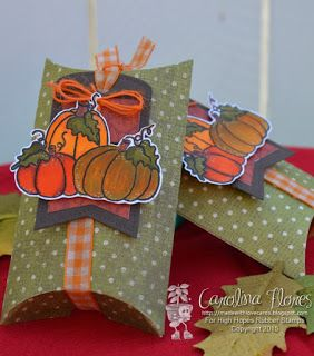 "High Hopes Stamps Autumn Pillow Boxes by Carolina using High Hopes Rubber Stamps ""Chubby Pumpkins"" (J031)"