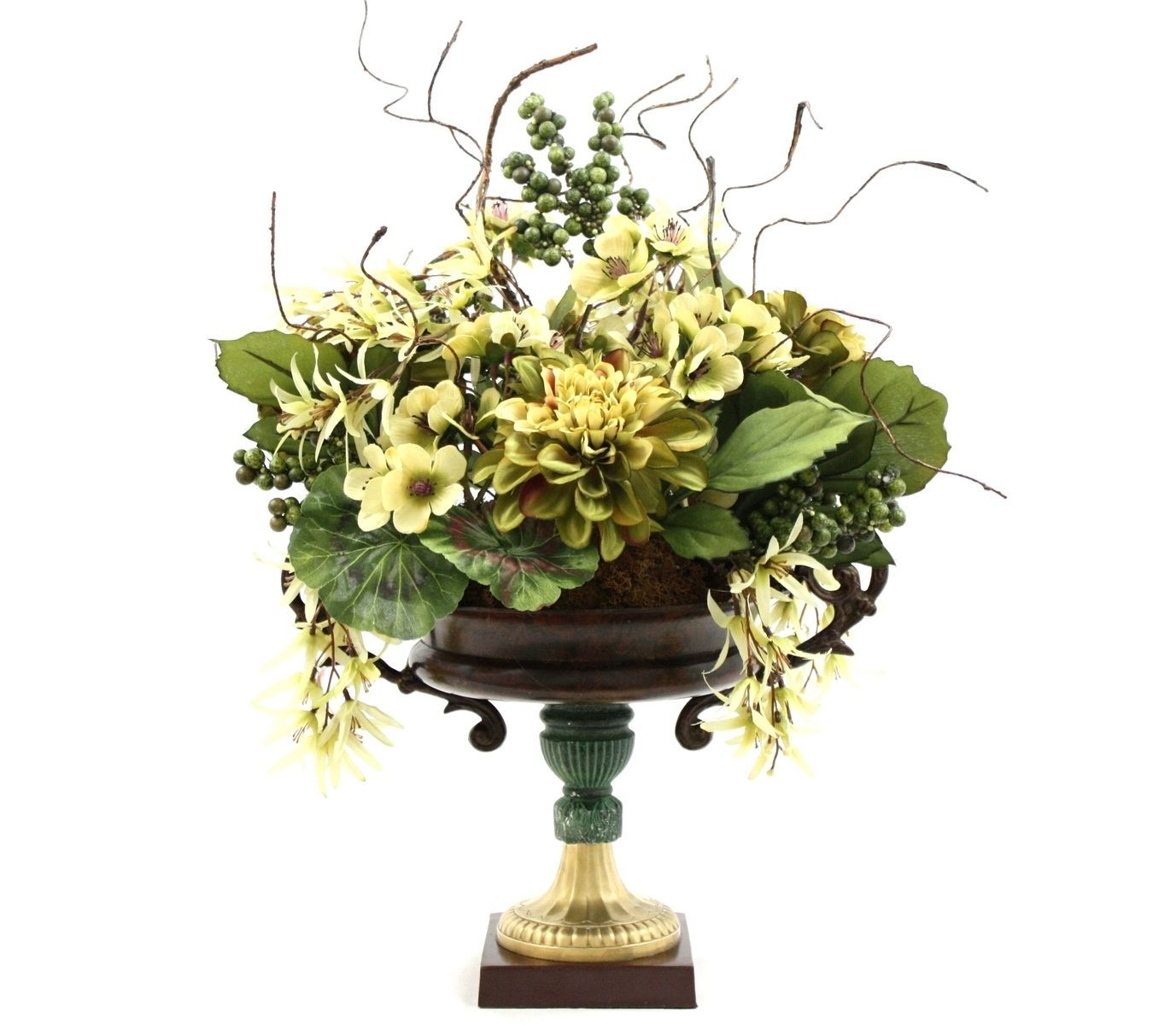 Custom made dining table centerpiece silk flower arrangement home decorating ideas vintage luxury table