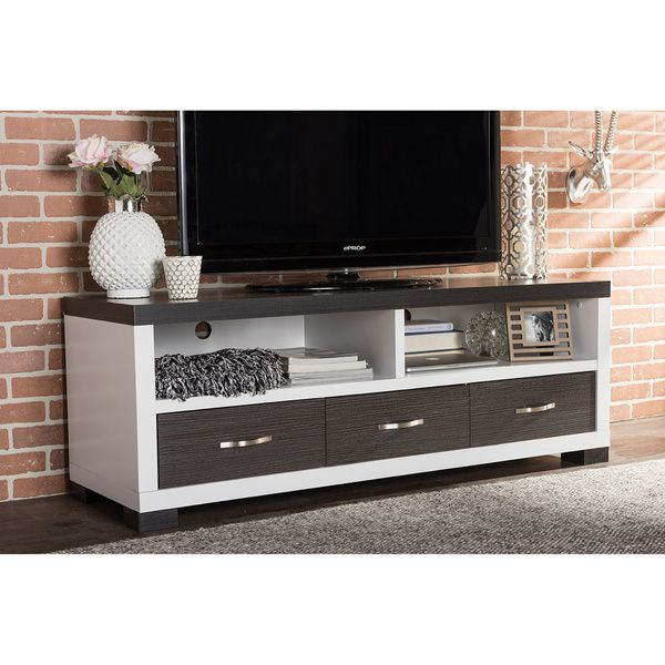Oxley 59 Inch Modern And Contemporary Two Tone White And Dark Brown