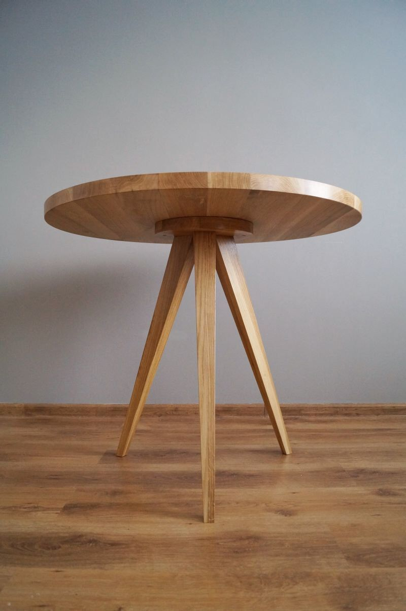 Round dining table, kitchen table, made of solid oak wood, Ø 90 cm ...