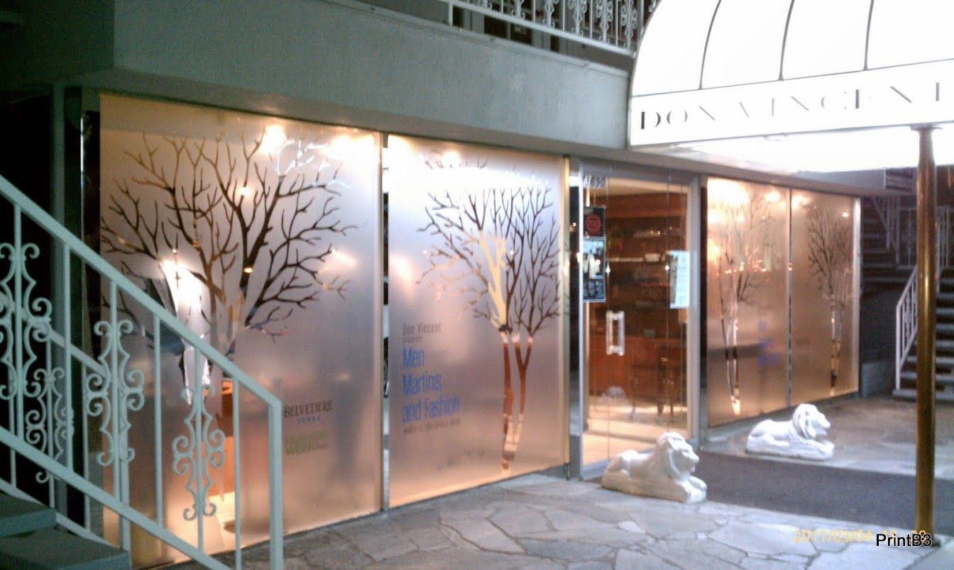 Dusted Frosted Etched Glass Retail Window Graphics By