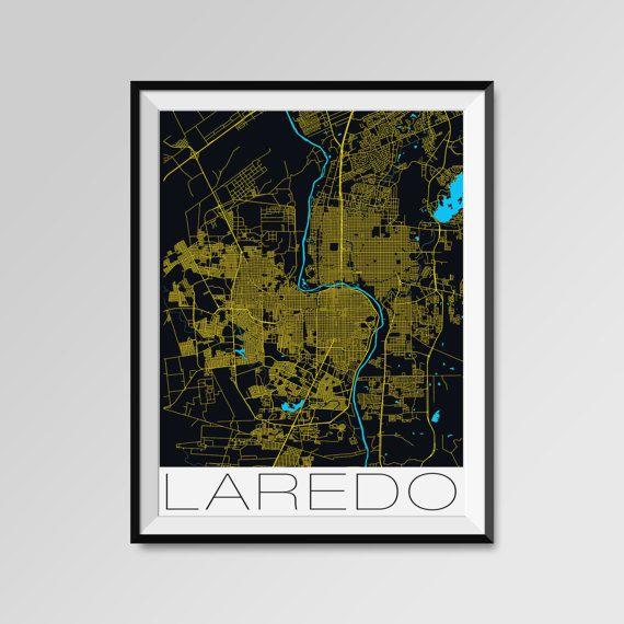 Laredo map, Laredo print, Laredo poster, Laredo map art, Laredo city maps  More styles - Laredo - maps on the link below https://www.etsy.com/shop/PFposters?search_query=Laredo