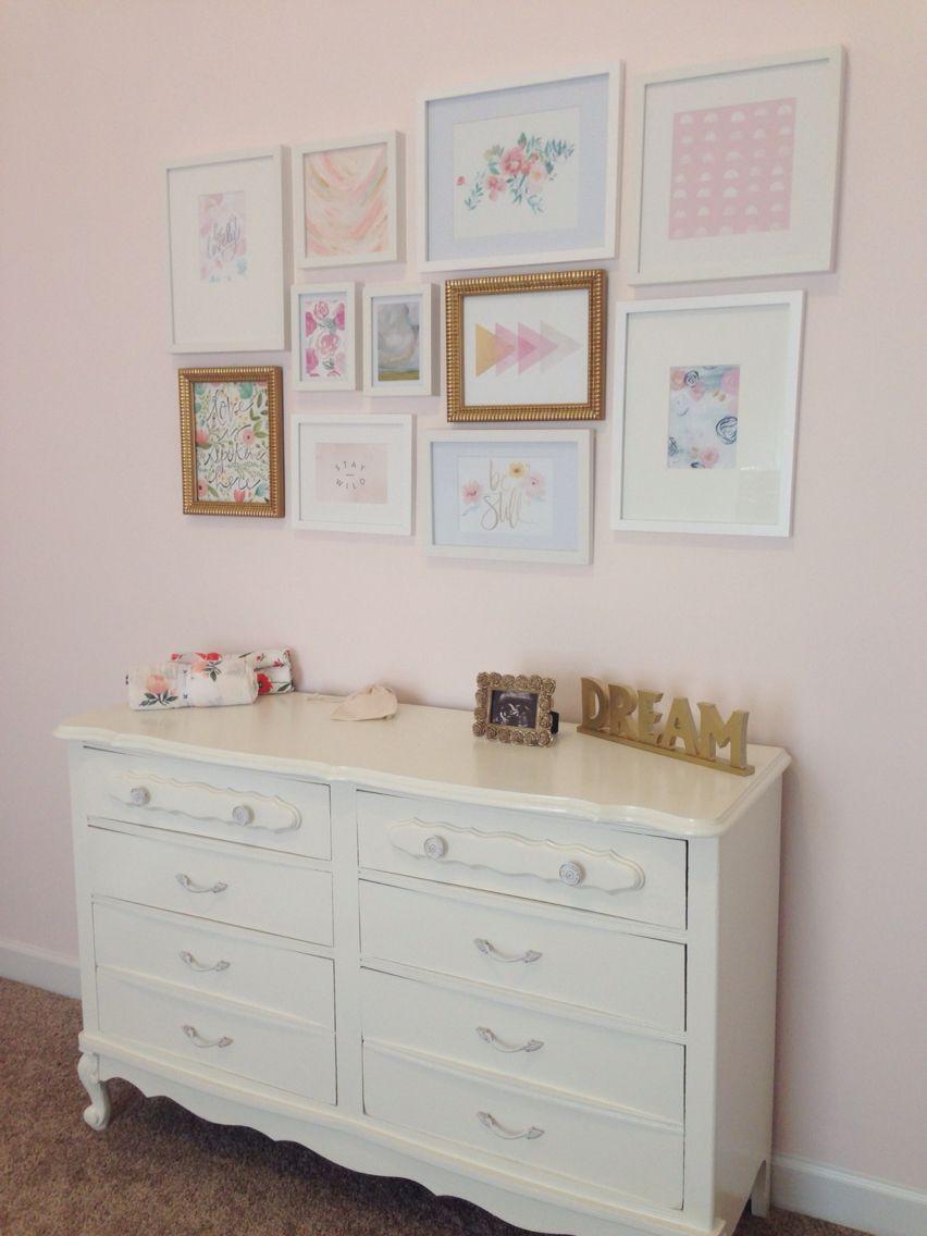 Audrey S Nursery Gallery Wall Refurbished Dresser Wall Color