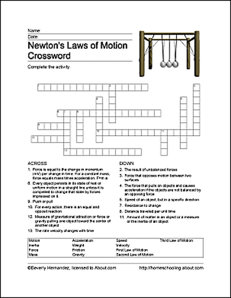 fun ways to learn about newton 39 s laws of motion word search free printable and newtons laws. Black Bedroom Furniture Sets. Home Design Ideas